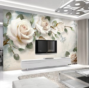 Modern minimalist 3d background wall hand-painted flowers European large murals elegant papel de parede wall cloth custom