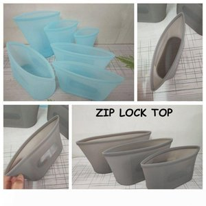 Reusable Silicone Food Preservation Bag Airtight Seal Food Storage Container Versatile Silicone Bag ZIP LOCK TOP Camp Kitchen CCA11772 20set