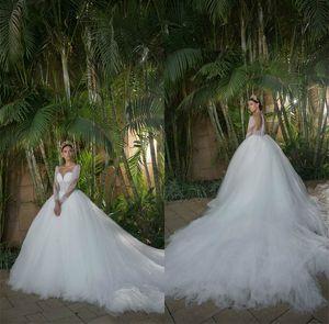 Elegant A-line Wedding Dresses Luxury Beaded Jewel Neck Sheer Long Sleeve Church Bridal Gowns Custom Made Court Train Vestidos De Novia