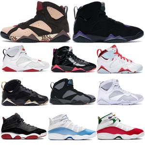 Hommes 7 7s chaussures de basket-ball Jumpman moments d'or olympique verni noir Lièvre d'oiseaux de proie 6 anneaux UNC sport des femmes des hommes Sneakers EUR 36-47