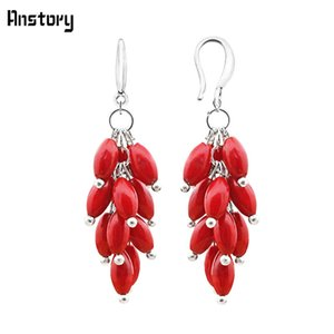 Cluster Natural Red Coral Bead Hook Earrings For Women Personality Design Fashion Jewelry Antique Silver Plated TE251