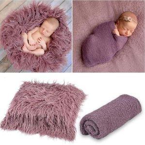 Fluffy Baby Blanket Set Newborn Photo Blanket Wrap Cloth 2pcs Sets Infant Backdrop Rug Photography Props 6 Colors DW5574