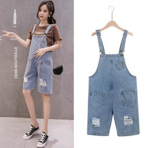 Pregnant Women Summer Suspenders Braces Denim Shorts Jeans Adjustable Strap High Waist Maternity Cotton Overalls Loose Jumpsuits