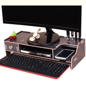 Monitor Wooden Stand Computer Desk Organizer with Keyboard Mouse Storage Slots