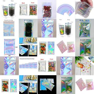 16X24Cm Resealable Cello Bags Wholesale Holographic Resealable Bags Translucent Pouches Designs Mask Packaging Bag Wcesp hairclippersshop KK