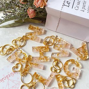 Women Car Keychain Gold Pink Keyrings Holder Fashion Custom A-Z Alphabet 0-9 Number Initial Letter Bag Charms Key Rings Chains Accessories