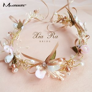 Meetcut Bow Tie Girls Bridal Headband Imitated Pearl Hair Headdress Flower Wreath Bride Garland Head Hoop Wedding Hair Jewelry