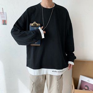 l0Cx2 Autumn Korean solid color men's loose students Harajuku bffeng t-shirt sweater sweater fashion brand ins fake two-piece T-shirt fashio