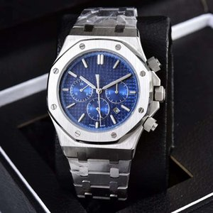 Classic Six needles chronograph watch Automatic mechanical movement sliver Stainless steel strap men's watch