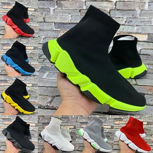 New Paris Speed Trainer calcetín negro de zapatos ocasionales universitario rojo verde amarillento triples blancas Plataforma de moda, hombres, mujeres zapatillas de deporte de Estados Unidos 6-12