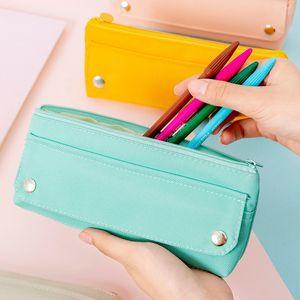 Пенал Ткань Оксфорд высокого Упругие Solid Color Triangle Student Канцелярские Box Простота Zipper Кнопка Pencil Box Retail