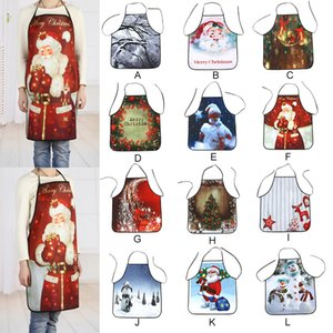 Red Christmas Apron Pinafore Cotton Linen Aprons 53*65cm Adult Bibs Home Kitchen Cooking Baking Cleaning Accessories#25