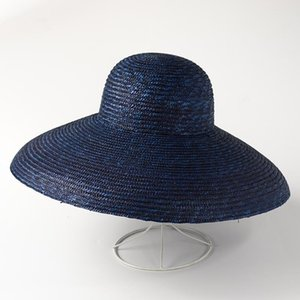 01905-HH7172 color natural straw handmade Elegant Hepburn Style lady bucket hat women holiday Elegant banquet cap