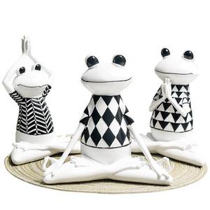 3 Estilos de resina negra y blanca de las rayas de la rana Yoga figuras de animales estatua Modelo lindo de la rana para los regalos de oficina Decoración del hogar