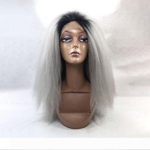 Yaopoly Top Synthetic Lace Front Wigs Long Kinky Straight Ombre Grey Afro Wigs For Black Women