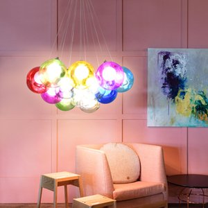 Modern Colorful Bubble Glass Pendant Light G4 LED Chandelier Home Living Room Dining Room Bedroom Ceiling Lamp Fixture PA0306