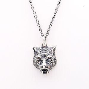 Collana S925 Argento Tiger collana dell'annata capa Gatto della serie Tiger capo Ciondolo Hip Hop uomini e le donne della testa della tigre catena della clavicola