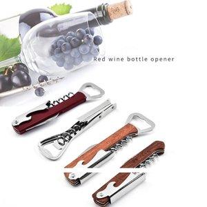 Abrelatas del vino del acero inoxidable del tornillo del corcho del sacacorchos de la botella de múltiples funciones del cuchillo del abrelatas regalos Pulltap doble bisagra Sacacorchos de Navidad LSK269