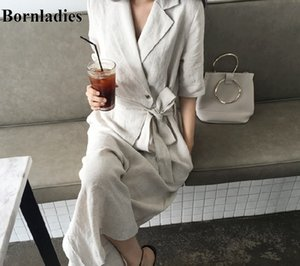 Bornladies 2020 New Summer Women Jumpsuits & Rompers Casual Cotton and Linen Wide Leg Ankle-Length Pants Lace Up Playsuit