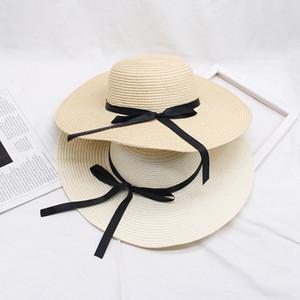 Bow Knot Kadınlar Hasır Şapka Tatil Retro Lady Geniş Brim Doğal Katlanabilir Şapka Kız Sahil Casual protetion Siperlik Güneş Açık Şapkalar LJJP105