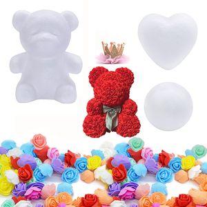 Ornamentos de la bola del corazón del regalo de boda del cumpleaños del día de Navidad Molde de espuma Rose oso DIY artificiales de Rose oso de peluche por Valentín