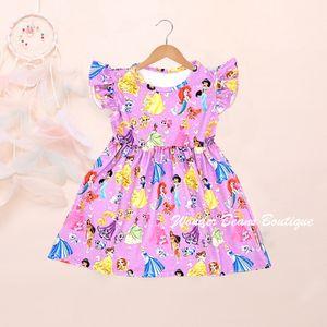 Pink Princess Girls Dress Toddler Girl Summer Clothes Milk Silk Kids Dresses for Girls Flutter Sleeve Birthday Party Dress Frock T200713