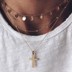 New 2020 Boho Vintage Necklaces For Women Gold Round Sequin Cross Pendant Necklace Multilayer Female Jewelry Valentine Gift