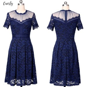 Womens Vintage See Through Floral Eyelash Lace Mesh Patchwork Cocktail Wedding Party Flare Spring Skater A Line Midi Dress 122