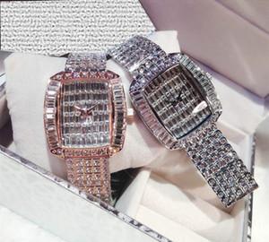 Echt Silver Square Platte voll Diamant Großen Diamant-Stahl-Gurt-Frauen-Uhr-Baby Atem-Quarz-Uhr-Diamant-Set Weinlese-Uhr