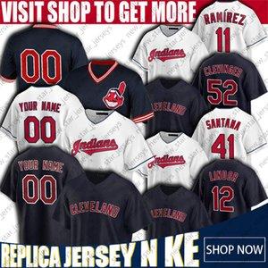 Francisco Lindor Jersey Jose Ramirez Maillots Oscar Mercado Cleveland Indians Baseball Jersey personnalisés Carlos Santana Maillots Mike Clevinger