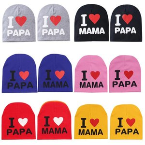22 Styles Cute Baby Warm Knitted Hats Fashion Toddler Letter Printed I Love Papa Mama Beanie Cap Outdoot Kids Travel Hat