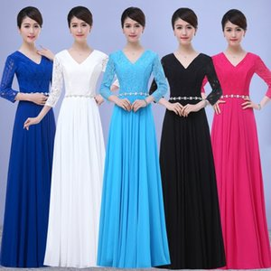 Women V Neck Chiffon Bridesmaid Dresses with Crystal Sash 2021 Lace Top Design Wedding Party Dress Sky Blue Royal Blue Black