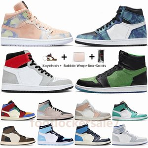 Nike Air Jumpman Jordan 1 UNC Mid Milan Tie Dye Fúria Verde Pherspective Travis Scotts High Low Paris 1s Mens tênis de basquete Retro Sneakers Sports