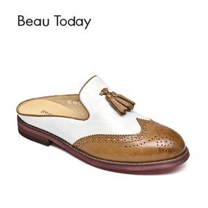 Karışık Renkler Açık BeauToday Mules Kadınlar Püsküller Gerçek Deri Yuvarlak Burun Kayma Wingtip Kadın Brogue 36037 El Yapımı Ayakkabı
