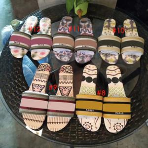 Dway mulheres slides Designer chinelo bordado superior impressa palmilha Lady Slippers Plano praia dos chinelos causal sandália qualidade superior