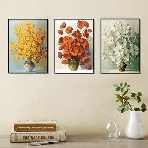 Расписанную Art Prints Pop Art Абстрактные цветочные картины маслом на холсте Плакат стены цветок Картина для гостиной Кухня Декор