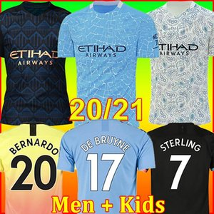 TOP 2020 2021 FC manchester soccer jersey city 20 21 G. JESUS MAHREZ DE BRUYNE KUN AGUERO football shirt MENDY MAN uniforms men + kids kit