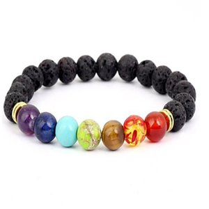 Black Lava Volcanic stone 7 Chakra Bracelet,Natural Stone Yoga Bracelet,Healing Reiki Prayer Balance Buddha Beads Bracelet . a6236
