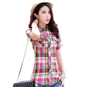 2016 summer new fashion plaid short sleeve shirt women summer blouse shirt casual cotton tops girl summer clothing shirt Y200622