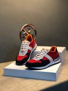 Top quality mens running shoes red mesh leather lace-up basket luxe platform sneakers Hiking Walking Shoes#3F