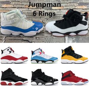 Nueva llegada 6 anillos jumpman los zapatos de baloncesto del mens UNC criados negro gimnasia blanco rojo del equipo de confeti de taxis real mujeres de los hombres zapatillas de deporte