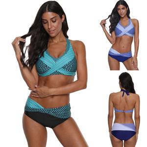 Women's Swimwear Retro Women Swimsuit High Quality Dot Print Bikini Set Halter Branzilian Bathing Suit Female Biquini Plus Size S~4XL