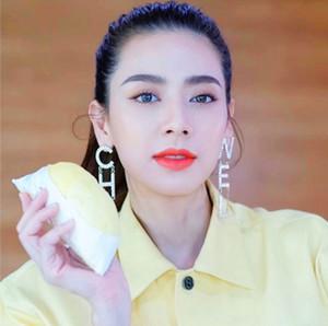 In populären Art und Weise Luxus übertrieben langen großen funkelnden Diamant-Brief CHA baumeln Kronleuchter Ohrstecker für Frauen fallen