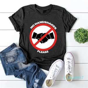 Designer No Hand Shakes Letter Printed Tees Females Short Sleeve Crew Neck Casual Tops Womens Plus Size Summer Tshirts t07