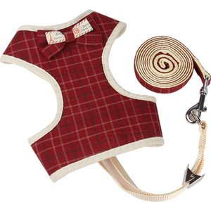 New Fashion Small Dogs Cat Clothes Accessories Puppy Vest Breathable Dog Pet Harness and Leash Set Air Mesh Puppy With Bow