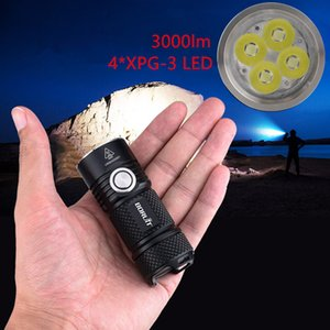 BORUiT BC15 4*XPG3 3000LM Powerful LED USB Rechargeable 26350 6-Mode Super Bright Torch for Camping Mountaineering