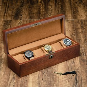 Retro Wooden Watch Box with Key Watch Holder Box For Watches Men Rectangle Square Jewelry Organizer 6 Grids Organizer
