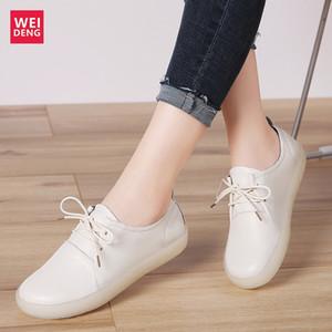 Weideng Frauen echtes Leder-beiläufige flache Schuhe Freizeit Weibliche Lofaers Mädchen schnüren sich oben nicht Beleg Leichte Soft Light