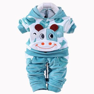 New Velvet Baby Boys Girls Children Clothing Sets Boys Cartoon Hoodies Pants Suits For Spring Baby Sets Costume Kids Clothing