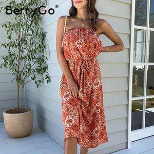 mulheres BerryGo mangas boho vestido sexy strapless vestido floral babados de impressão verão alta WAIS faixa feriado fêmea praia